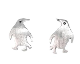 Super Cute Penguin Stud Earrings Sterling Silver