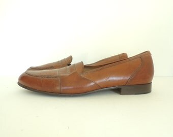 mens loafers size 12, mens shoes, mens dress shoes, leather shoes, brown shoes, penny loafers, 80s 1980s, slip ons