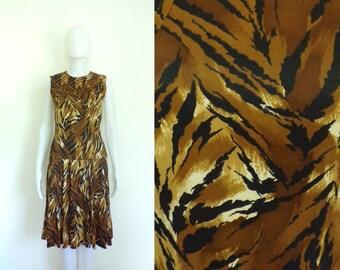 40%offAug18-21 60s tiger dress size small, animal print handmade dress, 1960s knit day dress, brown black, sleeveless a-line mad men