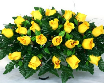 Cemetery Tombstone Saddle With beautiful artificial Yellow Roses
