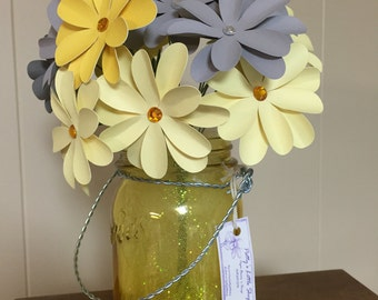 Yellow & Grey - Fresh Bouquet of Paper Flowers