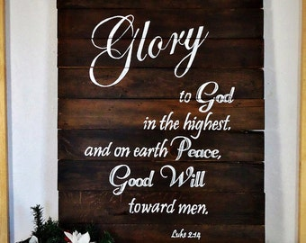 Gift, Glory to God in the Highest, christmas signs, hand painted christmas signs, religious christmas signs, christmas carols