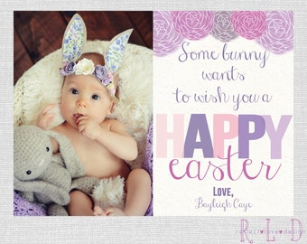 Some Bunny Happy Easter Photo Card Digital Printable