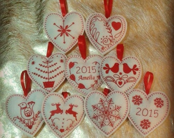 Christmas Felt Machine Embroidered Heart Decorations