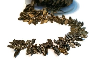 """Antique Brass Plated Unfinished Leaf Charm Chain 25"""" - Necklace, Bracelet, Earring Dangles, Jewelry Design"""