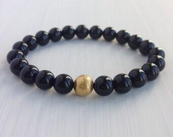 8mm Onyx Beaded Stretch Bracelet with 24K Gold Vermeil Bead
