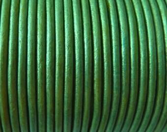 40 meters metallic blue-toned green leather cord 2 mm PR0850
