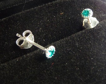 Earrings 925 silver and crystal blue zircon color stone PKA12-040