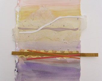 Collage on watercolor painting, original with Japanese handmade paper, contemporary abstract,pink,gold,purple, blue and rust