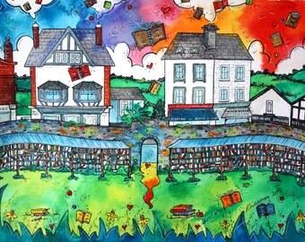 Hay on Wye Books ~ Byd y Llyfrau Gelli Gandryll print from original artwork by Welsh artist Rhiannon Roberts
