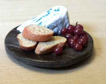 Bleu Cheese, Baguette,  and Red Grape Clay Miniature Food Magnet