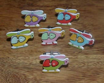 Wooden Helicopter Cufflinks, Wooden Cufflink, wood cufflink, Helicopter Cufflinks, Chopper cufflinks, colourful cufflinks