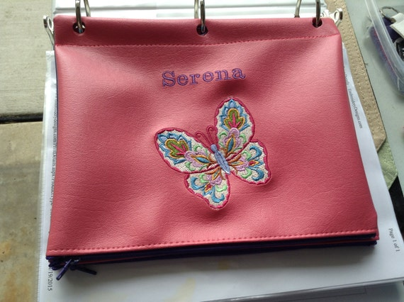 items similar to pencil case butterfly minecraft binder pouch 3 hole punched embroidered any