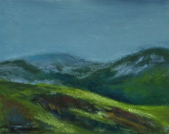 """Image, landscape, Scotland, original pastel painting, art, """"Beginning of the Highlands"""", image size 10 x 15 cm, with or without frame"""