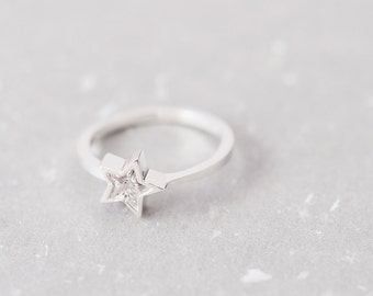 Star Stone Ring 925 Sterling Silver Dainty Jewelry