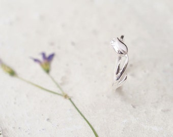White Tulip Ring 925 Sterling Silver Flower Dainty Jewelry