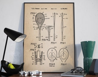 Tennis Racket Patent, Tennis Racquet Poster, Tennis Patent, Patent Print, Wall Art Patent - DA0266