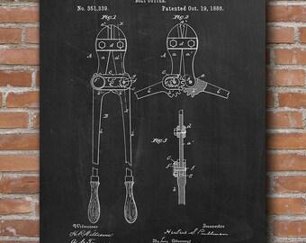 Bolt Cutter Patent Print, Bolt Cutter Poster, Garage Decor, Patent Poster - DA0404