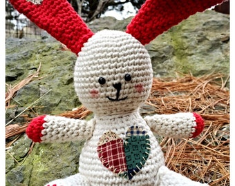 Patches the Bunny Sweet Heart amigurumi crochet doll