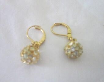 Vintage Gold Tone Rhinestone Balls Dangle Pierced Earrings
