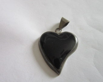 Antique Sterling Silver & Black Onyx Stylized Heart Necklace Pendant Large