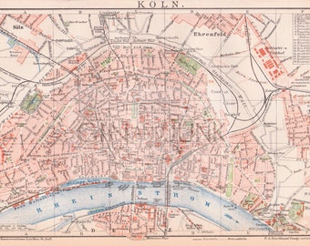 ANTIQUE MAP - Cologne - Germany 'Koln' -  from 1890