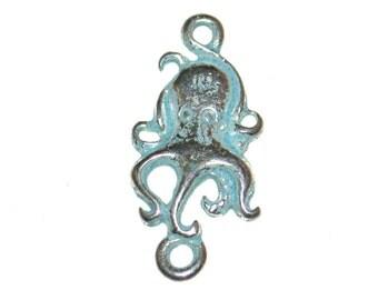 6 Cute Little Octopus Connectors - 15 x 9mm