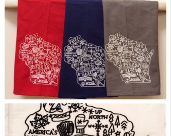 All things Wisconsin dishtowel with packers, brewers, badgers, deer, up north, beer, bratwurst, fishing, madison capitol