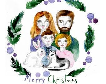 Portrait personnalisé de Noël à l'aquarelle