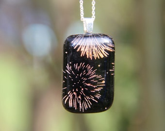 Red/orange  Firework dichroic glass  pendant, red orange dichroic glass necklace,  fused glass, fused glass pendant, Firework necklace , ,