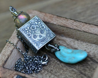Rustic Sterling Silver Skull  *Day of the Dead * Anne Choi Bohemian Statement necklace a129- fine jewelry .  skull jewelry . Turquoise stone