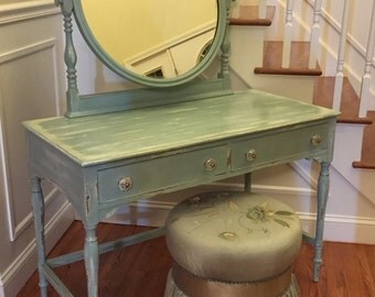 SOLD - 1940's/50's Solid Wood Vanity with Mirror and Stool•Hand Painted•Vintage•Country•Distressed• Chalk Paint•Furniture•Dressing•Table