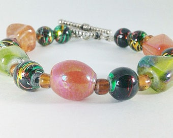 Green Orange Lime Green Peach Faceted Glass Multi-Colored Metallic Beaded Handmade One-of-a-Kind Bracelet