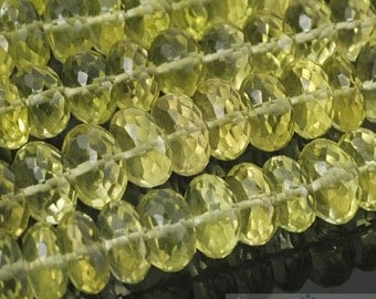 "HIZE GLQ02 Natural Lemon Quartz Faceted Rondelle Roller Pumpkin Beads 9.5-10mm (8"")"