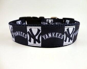 NY Yankees dog collar adjustable nylon
