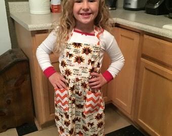 Girls thanksgiving apron