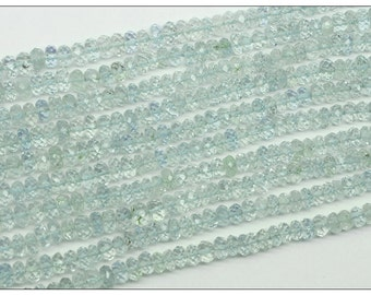 Strand of Natural Aquamarine Faceted Rondelle Beads - 17 Inches Each