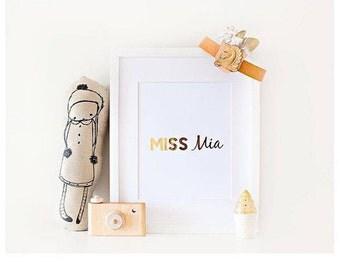Real Foil Print- Little Miss- Wall Art- Home Decor- Little Girls Room