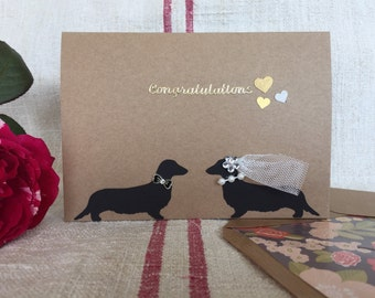 Dachshund wedding/congratulations greeting Card with lined envelopes.