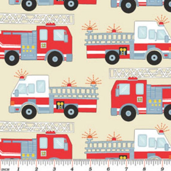 My little town fire truck fabric engine no 9 fabric by for Little blue truck fabric