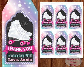 Thank you cards Roller Skates Favor tags digital gift Decoration birthday printable DIY Pink Purple Aqua Green Thank you card tag Girl FTRS1