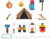 Camping tools clipart, Tent clipart, Camping needs clipart, Vector graphics, Digital Clipart, Digital Images, CL 054