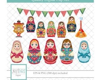 Babushka clipart , Russian clipart, vector graphics,  digital clip art, digital images -  CL 083