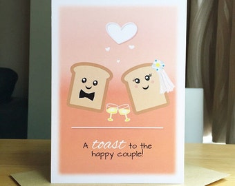 Wedding Congratulations Card. A toast to the happy couple. Wedding congrats Card. Wedding Card. Cute Wedding Congrats Card.