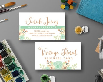 Vintage Floral Business Card Digital Printable | Custom, DIY Calling Card, Printable, Personalize | flowers, small business, design
