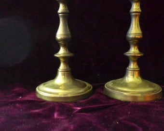 "Vintage Brass Candle Sticks (2), 7.5"" x 3"" Vintage"