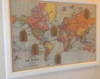 Vintage World Map Wedding Seating Plan With Frame