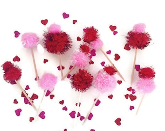 Handmade Valentine Love Pink and Red Pom Cupcake Toppers