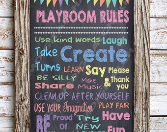 Playroom Rules Chalkboard Poster DIGITAL DOWNLOAD