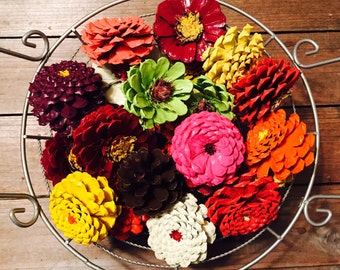 Fall Zinnia Pinecone Flower Bowl Fillers, Pine Cone Basket Fillers, Basket Stuffer, Painted Pinecones, Zinnias, Daisy and Dahlia, Fall Decor